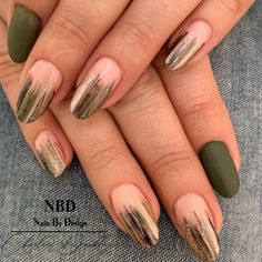 "NBD-Charleen Dunkley on Instagram: ""Matt Olive Green  Love these beautiful natural nails ❤️ #olive #olivegreennails #greennails #olivegreennails #sparkle #gel #abstract #gold…"""
