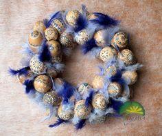 """Velikonoční věnec - ručně malované skořápky \""""modrý"""