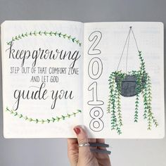 Bullet journal yearly cover page, hanging plant drawing. | @bjournal06