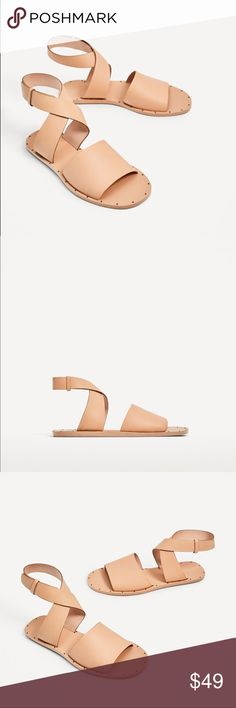 Zara leather flat slide sandal Neutral color to go with most outfits....100% cow leather upper.... euro size 38(7.5) Zara Shoes