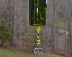 Wine Bottle Wind Chime recycled by CDChilds on Etsy