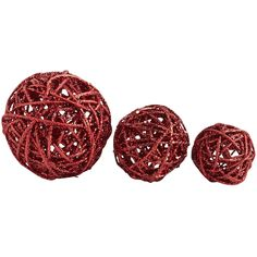 Rattan Glitter Spheres - Red | Pier 1 Imports