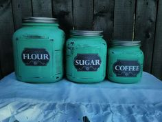 Cracker Jar Canister Set in Teal #Mason