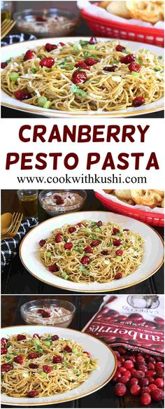 Cranberry Pesto Pasta is super easy to make, rich and irresistibly delicious, flavorful pasta dish prepared using fresh homemade pesto and pasta of your choice in less than 30 minutes. #pasta #dinner #Lunch #christmas #thanksgiving #capecodeselect @capecodselect #buzzfeedfood #feedfeed #cheese #frozencranberries #holiday #brunch #meal #entree