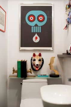 The Deer Bookends And Wolf Mask Add A Sense Of Humor To This Bathroom In Toronto