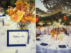 Table name sign, centerpiece of mokara orchids, pin cushion protea, peach roses (left) Table top decor with specialty napkins in royal blue with floral napkin decor, multiple element floral centerpiece, at varied heights, tall white dendrobium orchid spray with curly willow, medium mixed arrangement in oranges, white hydrangea (right) - Flowers by Heidi, Four Seasons Resort Hualalai Weddings
