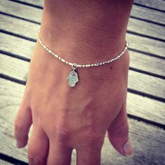 Mini Silver Hamsa Hand Charm Bracelet with Silver Ball Bead Chain by NokoDesigns on Etsy