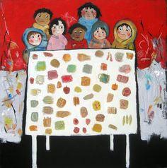 """Feed The Children"" Acrylic on canvas 24x24 Anne Irwin Fine Art gallery  ©Barbara Olsen"