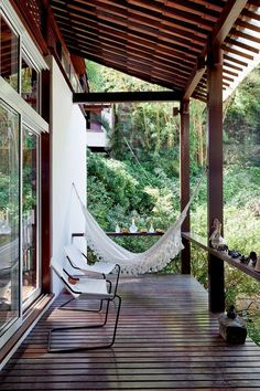 hammock - veranda - Eclectic Brazilian Home Outdoor Rooms, Outdoor Living, Outdoor Decor, Interior Exterior, Exterior Design, Future House, My House, My Dream Home, Beautiful Homes