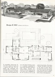 Vintage House Plans 2000 square foot homes mid century homes Design B 1055 Modern Tiny House, Modern House Plans, Tiny House Plans, Modern House Design, House Floor Plans, Modern Homes, The Plan, How To Plan, Building Plans
