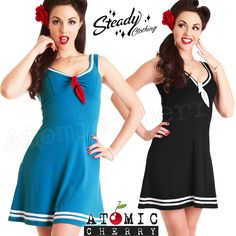 Steady 'Marina' Dress Rockabilly Pin Up Retro Sailor Nautical Costume 50s Cool
