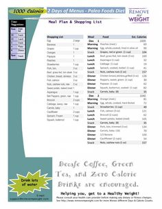 1000 Calories 2 Day Paleo Diet with Shoppong List - Printable - Menu Plan for Weight Loss