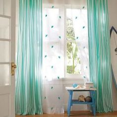 Tiffany blue - mylusciouslife.com - PB Teen - Canvas Stripe Curtains.jpg