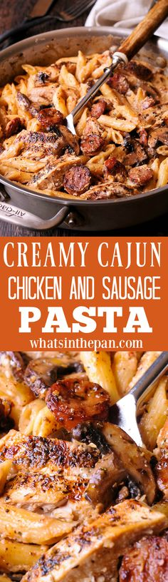Cajun Chicken and Sausage Pasta in Creamy Parmesan Sauce is easy to make in only 30 minutes! Smoked sausage, mushrooms and Worcestershire sauce here do a beautiful job creating the most amazing chicken penne meal inside your kitchen. Cajun Chicken Pasta, Chicken Pasta Recipes, Cajun Recipes, Cooking Recipes, Sausage Pasta, Cajun Sausage, Chicken Sausage, Pasta Dishes, Cajun Dishes