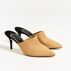 Image 1 of LEATHER BACKLESS HIGH HEEL SHOES from Zara