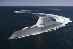 The US Navy officially welcomed its largest and most technologically advanced destroyer to the fleet Saturday as the USS Zumwalt was commissioned in Baltimore. Yacht Design, United States Navy, Philip Starck, Uss Zumwalt, New Battleship, Badass Pictures, Cruise Missile, Us Navy Ships, Big Guns