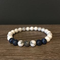 White Howlite and Blue Dumortierite Bracelet by SimplexityStore