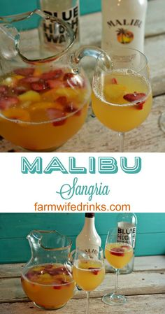 This Malibu sangria recipe is simple and perfect for a summer day pool drink. More from my site Summer Sangria Malibu Rum Drinks, Pool Drinks, Wine Drinks, Summer Drinks, Cocktail Drinks, Cocktail Recipes, Summer Sangria, Margarita Recipes, Mango Rum Drinks