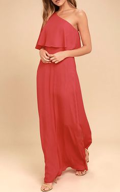 The gentle beauty of the Angelic Way Red One-Shoulder Maxi Dress has us mesmerized! Lightweight poly shapes an elasticized, one-shoulder flounce bodice. A full maxi skirt descends below a fitted waist. Bridesmaid Dresses Under 50, Best Maxi Dresses, Sexy Maxi Dress, Floral Maxi Dress, Nice Dresses, Long Dresses, Bridesmaids, Online Dress Shopping, Dress First