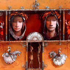 Merab Gagiladze - Always Together Different Media, Illustrations, Doodles, Fantasy, Portrait, Alphabet, Paintings, Dreams, Image