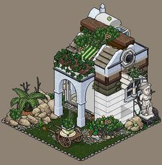 Habbo Hotel, Isometric Drawing, Creta, Unique House Design, Minecraft Designs, House Drawing, Medieval Town, Mini Games, Pixel Art