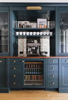 built in bar area in family room Jean Stoffer; built in bar area in family room - Style Of Coffee Bar In Kitchen Coffee Station Kitchen, Coffee Bars In Kitchen, Coffee Bar Home, Home Coffee Stations, New Kitchen, Kitchen Decor, Design Kitchen, Coffee Shop, Kitchen Dining