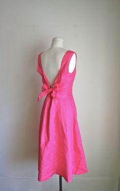 vintage pink dress - BUBBLE GUM pink linen backless sundress / S-M. $44.00, via Etsy.