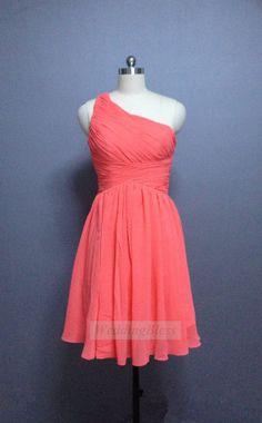 Coral One Shoulder Bridesmaid Dress Chiffon by WeddingBless, $88.00