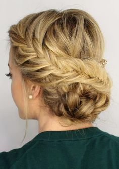 hair hair updos 42 Braided Prom Hair Updos To French Braid Hairstyles, Fancy Hairstyles, Hairstyle Ideas, Bridal Hairstyles, Beautiful Hairstyles, Latest Hairstyles, Perfect Hairstyle, Makeup Hairstyle, Vintage Hairstyles