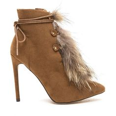 Bold Entrance Furry Lace-Up Booties (53 PLN) ❤ liked on Polyvore featuring shoes, boots, ankle booties, ankle boots, tan, laced up ankle boots, lace up booties, tan booties, lace up high heel booties and high heel booties