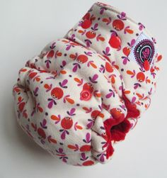 One Size Bamboo Fitted Hybrid Cloth Diaper Red Monsters