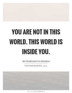 You are not in this world. This world is inside you. Sri Nisargadatta Maharaj quotes on PictureQuotes.com.