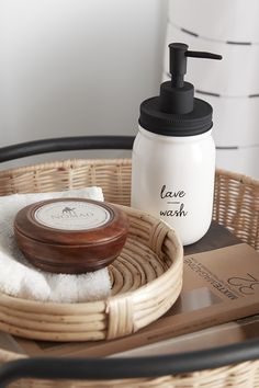 "We love Mason jars for their usefulness but also for their always on-trend style. A perfect fit for any type of decor from vintage to boho to industrial or modern, this soap dispenser will add a fashionable touch to any bathroom or kitchen. Made of white ceramic with a matte black lid and pump, it features a message of ""lave / wash"" in modern white typography. Add it for an instant style update, today! Bathroom Collections, Soap Dispenser, Matte Black, White Ceramics, Perfect Fit, Pump, Mason Jars, House Ideas, Typography"