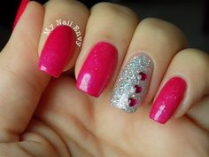Valentines Nails – My Nail Envy  CND additives, glitter, sparkly pink nails, Lechat Hologram Diamond, Hologram nails, hearts, rhinestones, valentines day nails