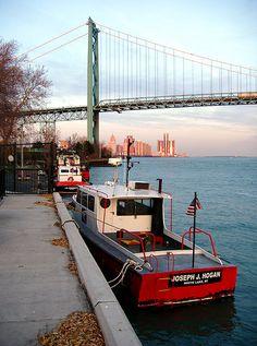 Ambassador Bridge and Downtown Detroit, Michigan