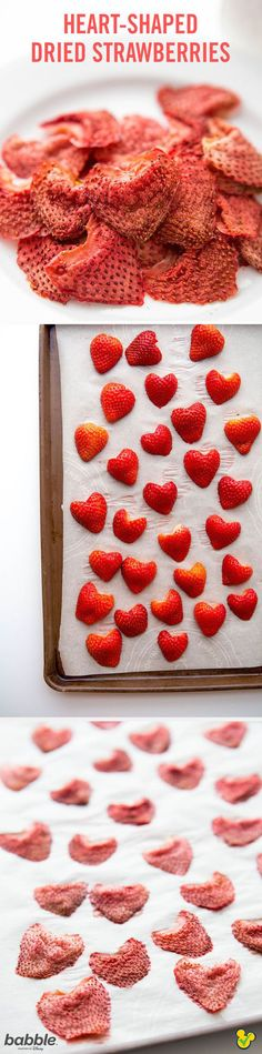 This all-natural back to school treat is perfect for your kid's lunchbox. These Heart-Shaped Dried Strawberries taste just like candy. And you won't believe how easy it is to make the snack recipe — only one ingredient and a few minutes of prep are required!