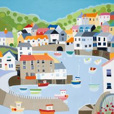 Polperro open edition print by Janet Bell. Available from Janet Bell Gallery, Beaumaris, Isle of Anglesey Kitsch, Bell Art, Naive Art, Aboriginal Art, Vintage Travel Posters, Landscape Art, Home Art, Watercolor Art, Art For Kids