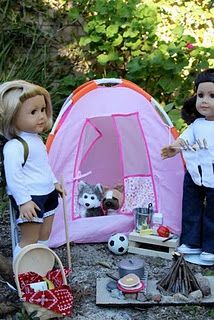 DIY Ideas for American Girl Dolls (or I am thinking dolls in general). Campfire stuff, DIY ironing board & iron, purse, passport & wallet etc