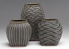 Sharon Dugan |  Black ash baskets... inspiration for ceramic pieces???carving woven textures into clay. Also really like the bottom shapes of these.
