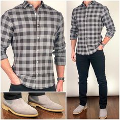 This is one of my favorites from the new fall fabrics❗️ This light flannel buffalo check is perfect for your fall/winter… Mens Winter Wardrobe, Stylish Men, Men Casual, Mode Man, Flannel Outfits, Flannel Shirt, Boating Outfit, Men Style Tips, Mens Clothing Styles