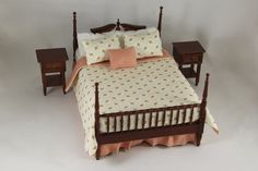 "A Colonial full-size bed with two nightstands with peach and beige mini flower bedding. Measurements: Bed - 7"" x 4 1/4"" x 5"" Nightstands - 2 1/4"" 1 3/16"" x 1 3/8"" 1:12 Scale"