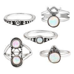 Monroe Opal Midi Ring Set Silver