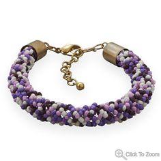 Purple and White Glass Bead Fashion Bracelet        Price: $19.99