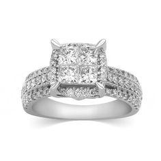 1.50 Ct Princess Cut Diamond Engagement Ring w Wedding Band 14K Solid White Gold #CaratsForYou #EngagementWeddingAnniversaryPromiseValentine
