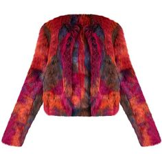 Zola Premium Multi Faux Fur Jacket ($40) ❤ liked on Polyvore featuring outerwear, jackets, red jacket, red faux fur jacket, multi colored jacket, multi color jacket and fake fur jacket