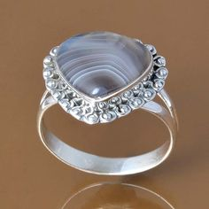 925 SOLID STERLING SILVER BOTSWANA AGATE RING 3.77g DJR7608 SZ-7.5 #Handmade #Ring