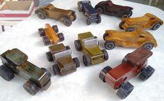 Vários tratores, jeep de madeira reciclada de obra,verniz meta, 20cm