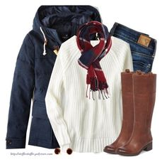 """""""Navy, Deep Red & Cream"""" by steffiestaffie ❤ liked on Polyvore featuring American Eagle Outfitters, Charlotte Russe, Lucky Brand and David Yurman"""