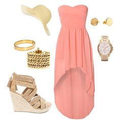 A fashion look from July 2012 featuring high low cocktail dresses, chunky jewelry and chronos watch. Browse and shop related looks. Passion For Fashion, Love Fashion, Fashion Beauty, Womens Fashion, Coral Fashion, Beach Fashion, Fashion News, Looks Style, Style Me