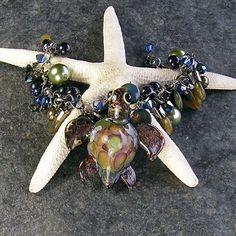Elsa Lampwork Turtle Bracelet a Blue Green and by XannasJewelryBox, $64.00